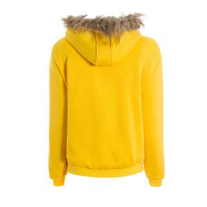 Casual Artificial Wool Embellished Hooded Zipper and Pocket Design Women's Cotton Coat - YELLOW ONE SIZE