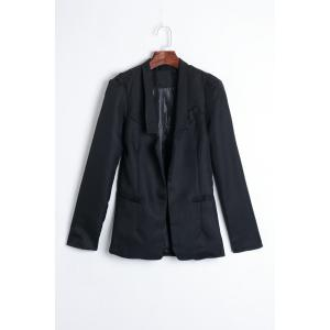 Elegant Slimming Shrug Shoulder Design Long Sleeves Cotton Blend Women's Blazer - Black - One Size