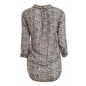 Leopard Print Stand Collar 3/4 Flanging Sleeve Chiffon Shirt -