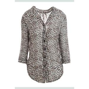 Leopard Print Stand Collar 3/4 Flanging Sleeve Chiffon Shirt