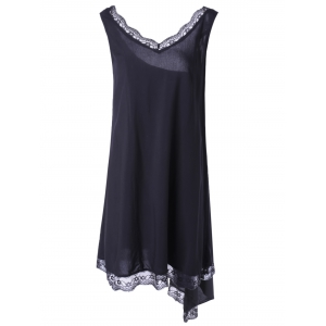 Fashionable V-Neck Sleevesless Asymmetric Lace Dress