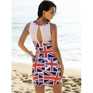 Mesh Panel Union Flag Mini Patriotic Dress - RED AND WHITE AND BLUE L