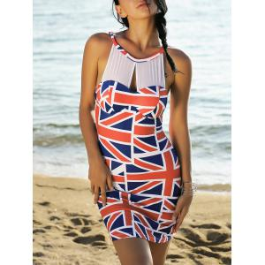 Mesh Panel Union Flag Mini Patriotic Dress - Red And White And Blue - S
