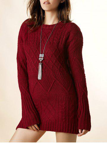 Sale Vintage Round Neck Long Sleeve Solid Color Loose-Fitting Furcal Women's Sweater