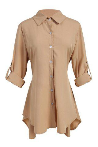 Latest Chic Shirt Collar Long Sleeve Solid Color Asymmetrical Women's Dress
