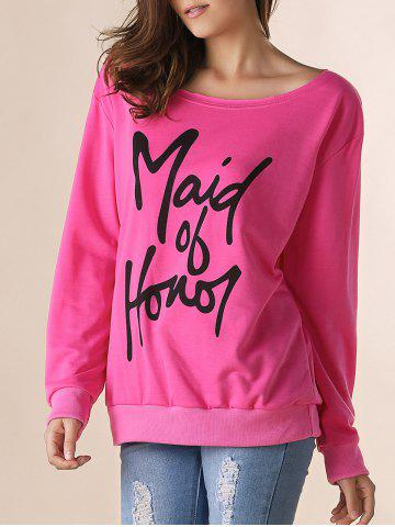 Casual Letter Printed Skew Neck Pullover Sweatshirt For Women