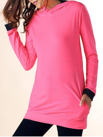 Casual Hooded Color Block Long Sleeve Dress For Women