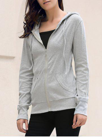 Shop Stylish Hooded Long Sleeve Solid Color Skull Pattern Women's Hoodie GRAY L
