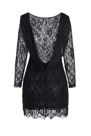 New Lace Long Sleeve Backless Short Bodycon Dress - M BLACK Mobile