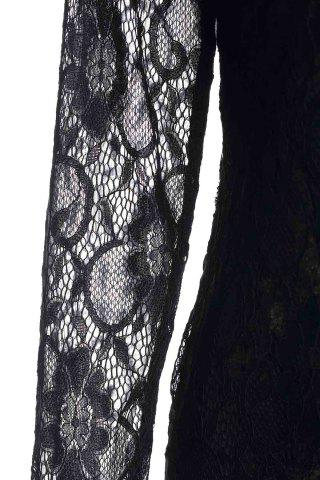 Store Lace Long Sleeve Backless Short Bodycon Dress - M BLACK Mobile