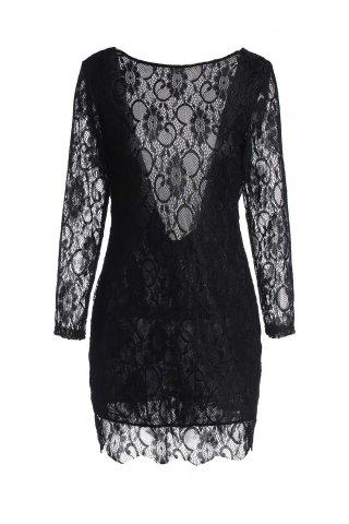 New Lace Long Sleeve Backless Short Bodycon Dress - L BLACK Mobile