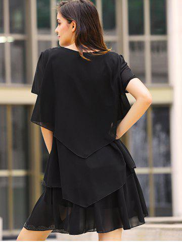 Buy Tiered Loose Dress - 2XL BLACK Mobile