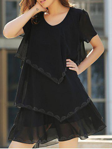 Outfit Tiered Loose Dress - 2XL BLACK Mobile