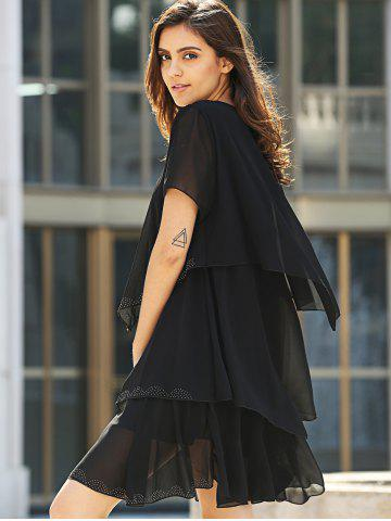 Latest Tiered Loose Dress - 2XL BLACK Mobile