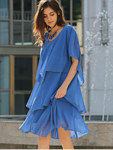 Affordable Tiered Loose Dress - 5XL BLUE Mobile