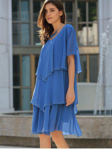 New Tiered Loose Dress - 5XL BLUE Mobile