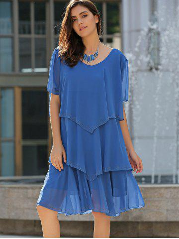 Latest Tiered Loose Dress - 5XL BLUE Mobile
