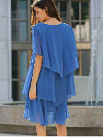 Best Tiered Loose Dress - 5XL BLUE Mobile