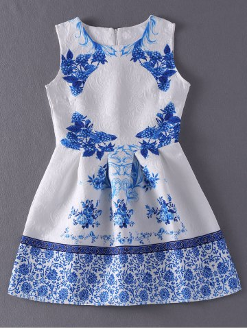 Outfit Vintage Style Jewel Neck Sleeveless Floral Print Jacquard Dress For Women