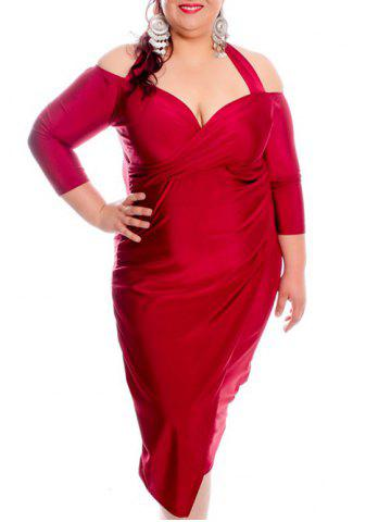 Sexy Halter Half Sleeve Hollow Out Solid Color Wrapped Midi Dress For Women - Wine Red - 3xl
