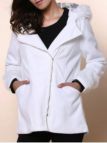 Chic Chic Hooded Long Sleeve Loose-Fitting Zippered Women's Coat WHITE ONE SIZE(FIT SIZE XS TO M)