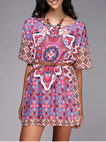 New Chic Round Neck Ethnic Style Pattern Print Color  Short Sleeve Dress For Women RED AND WHITE AND BLUE S