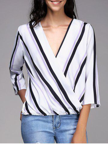 Stylish Plunging Neck Striped 3/4 Sleeve Top For Women