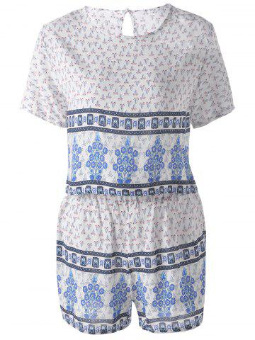 New Ethnic Round Neck Cut Out Back Pearl Button Crop Top + High Waist Stepped Hem Shorts Floral Printing Twinset For Women BLUE ONE SIZE(FIT SIZE XS TO M)