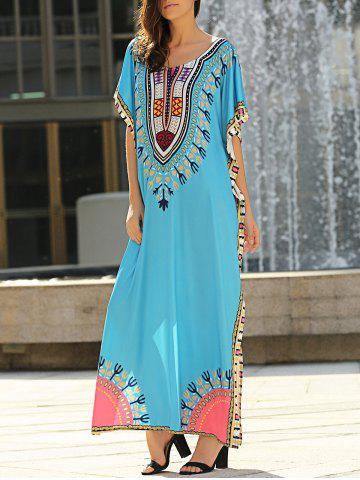 Outfits Ethnic Style Scoop Neck Short Sleeve Print Arabic Dress For Women