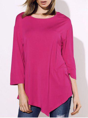 Trendy Stylish Round Collar 3/4 Sleeve Solid Color Irregular Women's T-Shirt