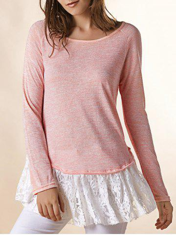 Outfits Endearing Scoop Neck Lace Spliced Hem Long Sleeve T-Shirt For Women