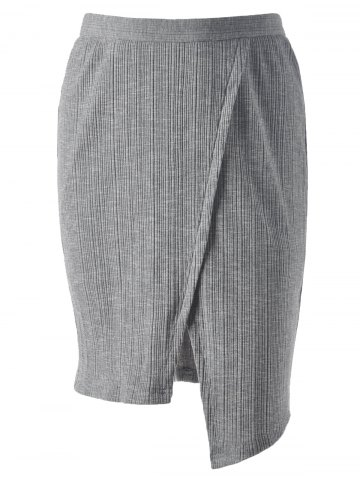 Shops Ribbed Front Slit Pencil Skirt SMOKY GRAY S