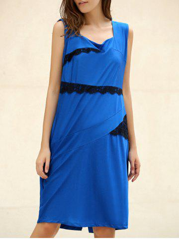 Affordable OL Square Neck Sleeveless Patch Lace Bodycon Dress For Women SAPPHIRE BLUE 2XL