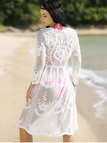 Stylish Round Neck Long Sleeve See-Through Women's Cover-Up от Rosegal.com INT