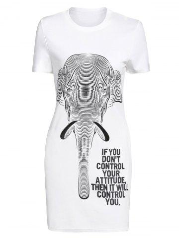 Outfit Casual Short Sleeve Letter Elephant Print Women's Dress