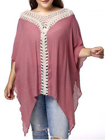 Shops Stylish V Neck 3/4 Sleeve Asymmetrical Hollow Out Plus Size Maternity Blouse For Women