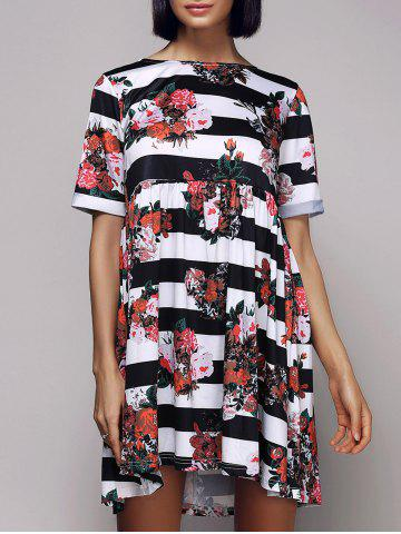 Store Casual Short Sleeve Round Neck Striped Floral Women's Dress