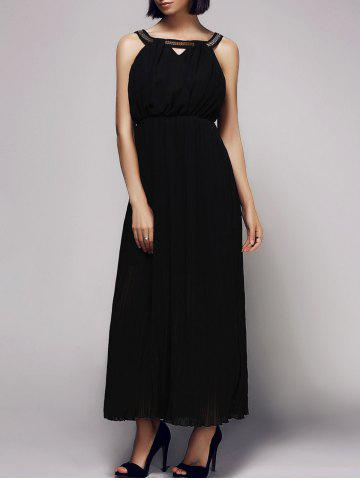 Latest Elegant Sleeveless Rhinestoned Hollow Out Women's Chiffon Dress