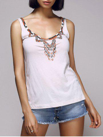 Affordable Stylish Scoop Neck Beaded Embellished Women's Tank Top