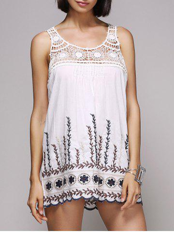 New Stylish Scoop Neck Embroidered Hollow Out Women's Tank Top