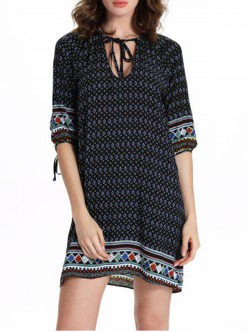 Shop Chic Women's 3/4 Sleeve Hollow Out Ethnic Print Dress