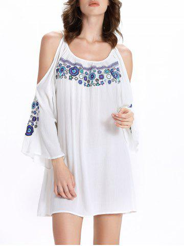 Outfit Chic Women's 3/4 Sleeve Ethnic Print Scoop Neck Cut Out Dress