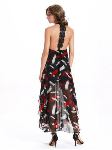 Sale Chic Women's Open Back Print Sleeveless Round Neck Dress