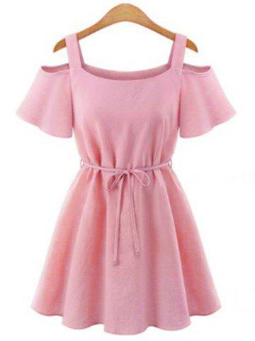 Outfits Stylish U Neck Short Sleeves Cut Out Tie Belt Solid Color Dress For Women