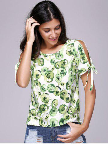 Shop Chic Women's Hollow Out Print Round Neck Short Sleeve T-Shirt