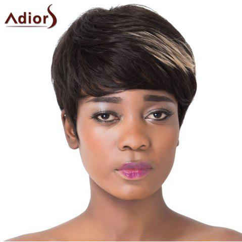 Cheap Spiffy Short Haircut Capless Straight Brown Highlight Synthetic Adiors Wig For Women