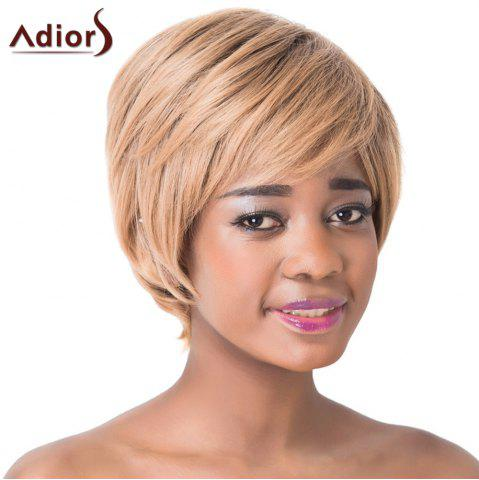 Online Charming Light Brown Short Capless Straight Side Bang Synthetic Adiors Wig For Women