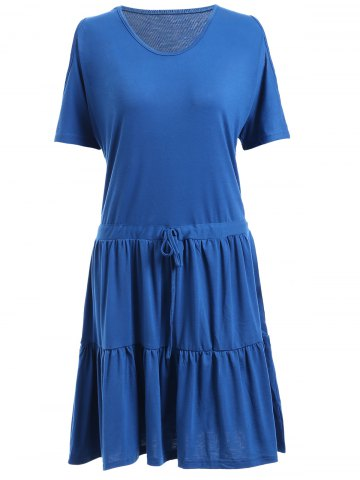 Sale Casual Scoop Neck Cold Shoulder Ruffled Dress For Women