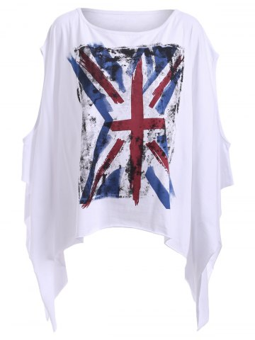Hot Chic Round Neck Cut Out Flag Print Asymmetrical Women's T-Shirt