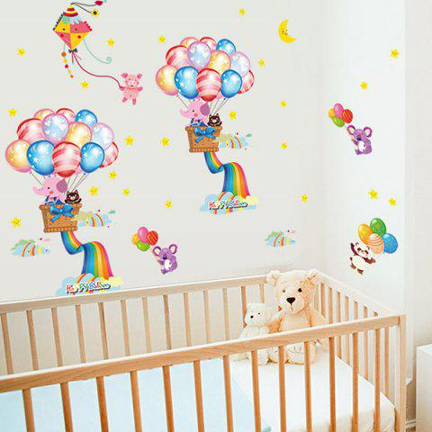 Sale Cartoon Rainbow Balloon Pattern Kids Bathroom Wall Decals COLORMIX